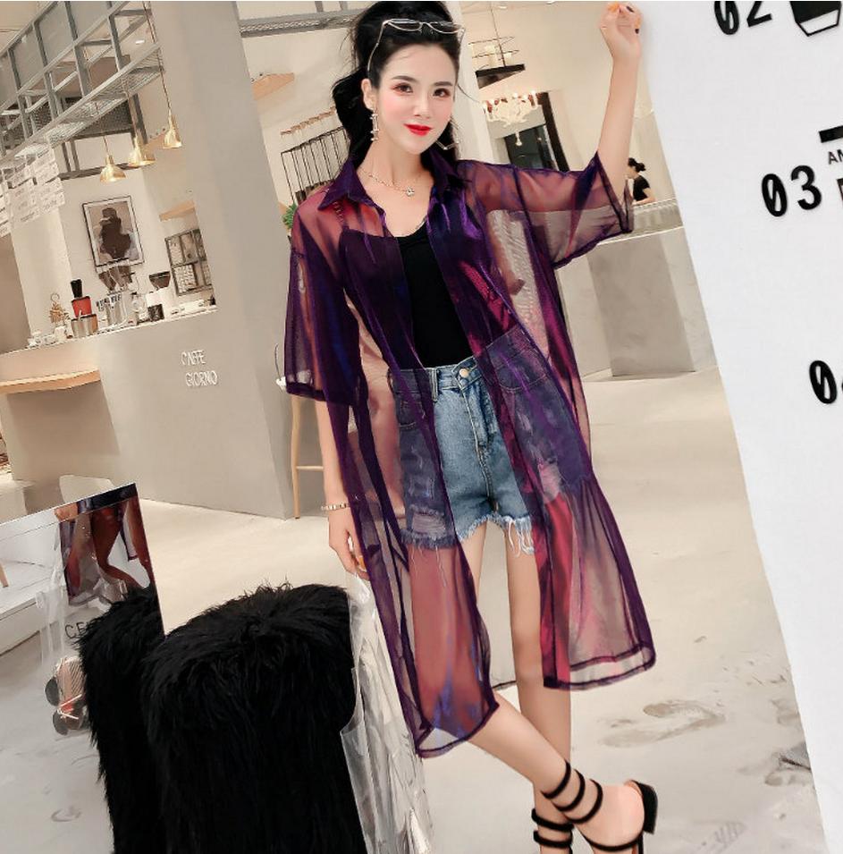 蘑菇街女装特卖2018夏装新款百搭修身显瘦中长防�鹂�衫外套雪纺衫