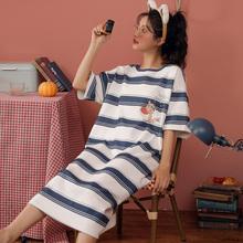 睡裙女夏季短袖纯棉宽松大码孕妇睡衣春夏天学生薄款可外穿家居服