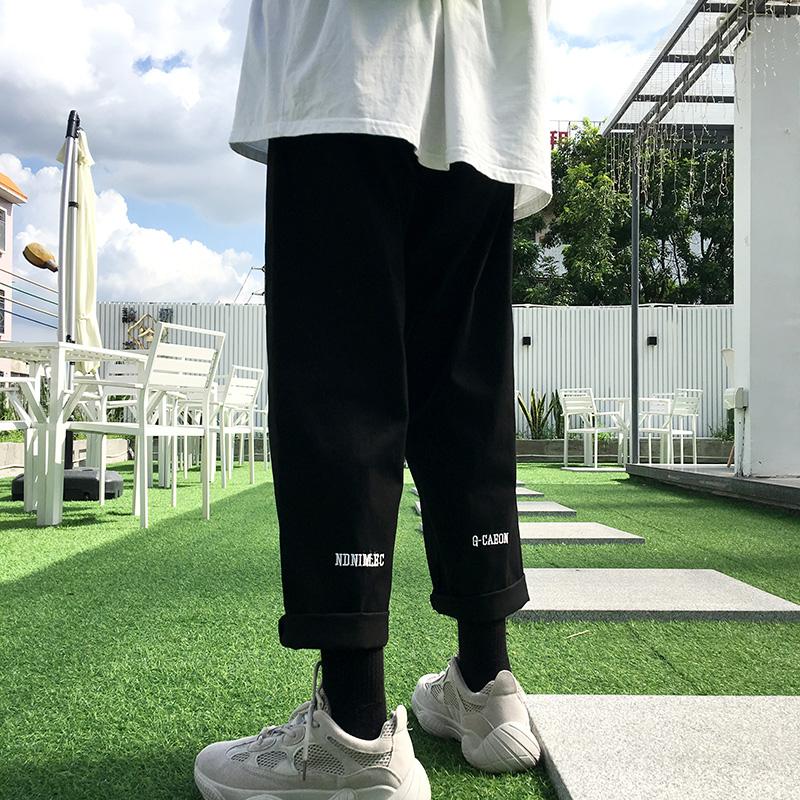 Ins autumn new mens work casual pants Korean loose fashion brand wide leg straight Capris