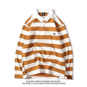 日系大条纹长袖T恤POLO衫复古宽松男女情侣款打底衫ins学院风上衣