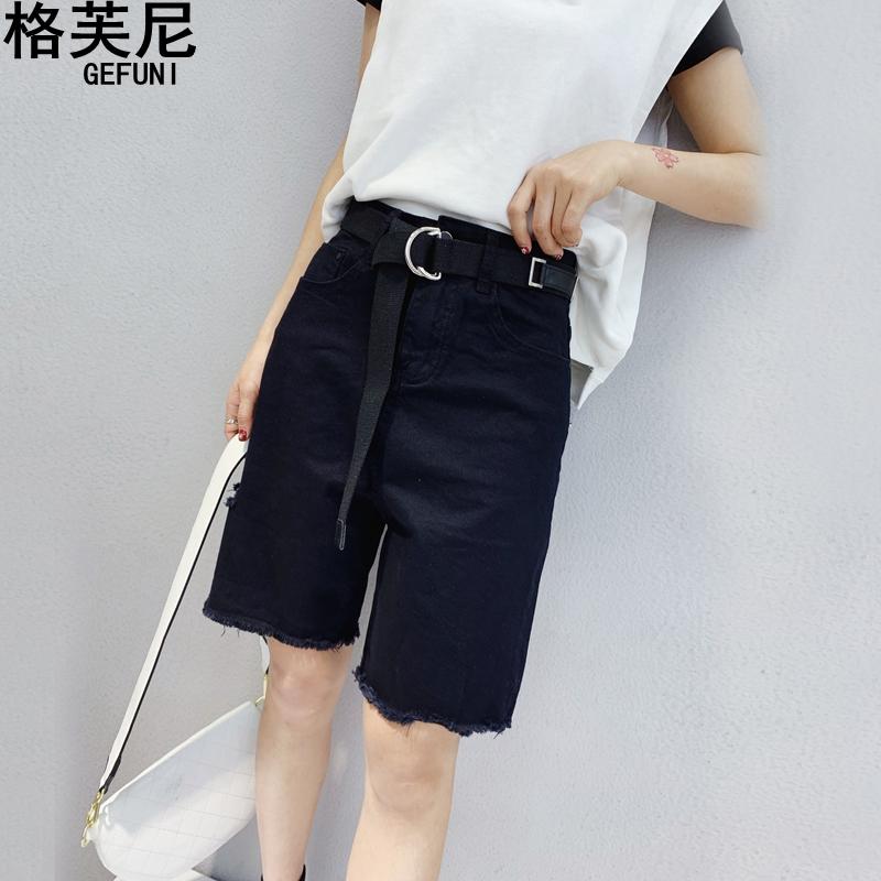 牛仔五分裤夏黑色韩版直筒显瘦短裤