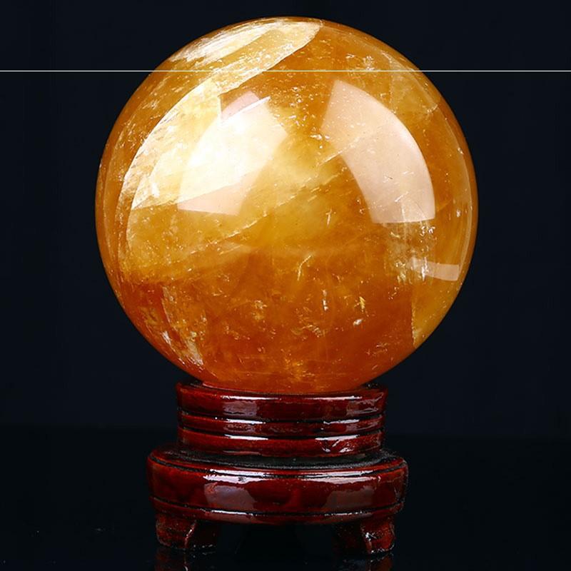 天然原石开光招财黄色水晶球摆件镇宅转运开业乔迁送礼办公室客厅