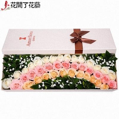 重庆同城鲜花店配送西宁市城西城北城东城中区速递送花白玫瑰礼盒