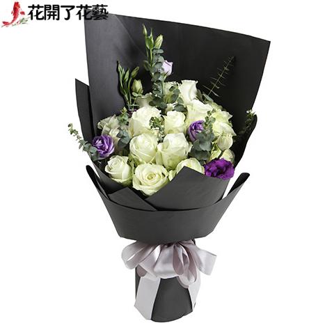鲜花速递99朵白红玫瑰情人节生日礼物嘉兴湖州绍兴金华同城送花店