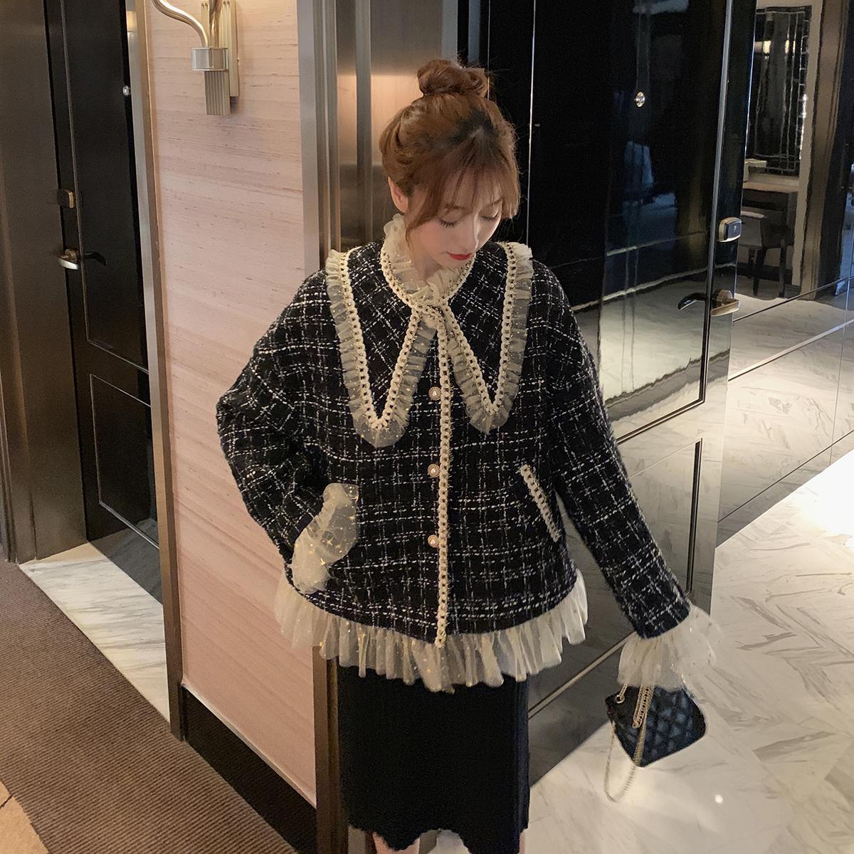 娃娃领小香风外套女秋韩版宽松蕾丝名媛轻熟格子短款毛呢加厚上衣