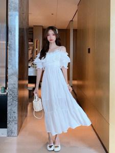 灰灰家定制 吊带裙一字肩收腰连衣裙白色初恋裙露肩小个子高腰