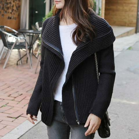 Autumn and winter new thickened cashmere knitted cardigan womens straight tube solid color zipper long sleeve turtleneck sweater large size jacket fashion