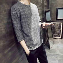 Summer new short-sleeved T-shirt Korean version of men's fashionable loose half-sleeve young leisure shirt jacket 7-7-sleeve