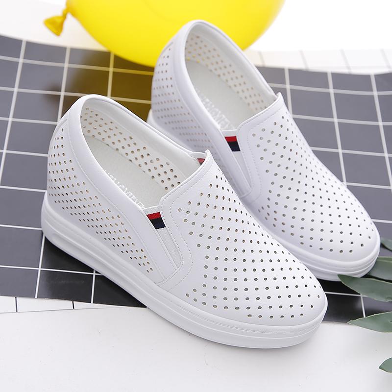 夏季镂空内增高女鞋透气小白鞋百搭一脚蹬网鞋坡跟单鞋休闲鞋