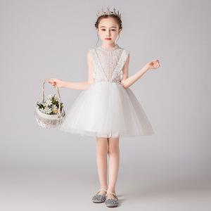 女童公主礼服裙儿童蓬蓬纱花童短款白色小女孩钢琴表演服女连衣裙