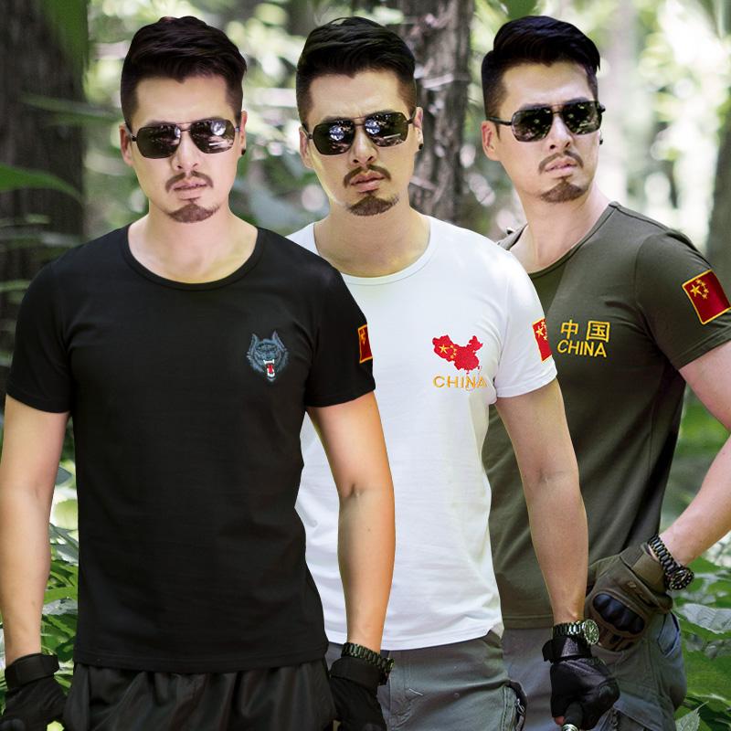 野战特种兵军迷刺绣国旗部队军装军人男短袖t恤半袖修身上衣服装