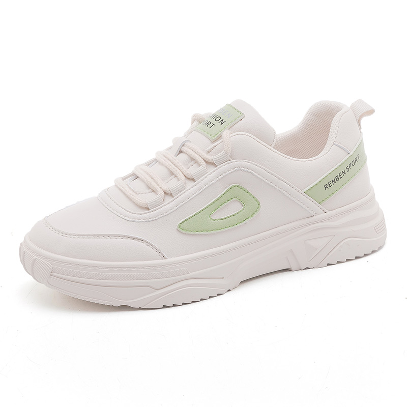 People's old father shoes women's new spring 2020 Korean version ins fashionable leather small white shoes all-around running shoes