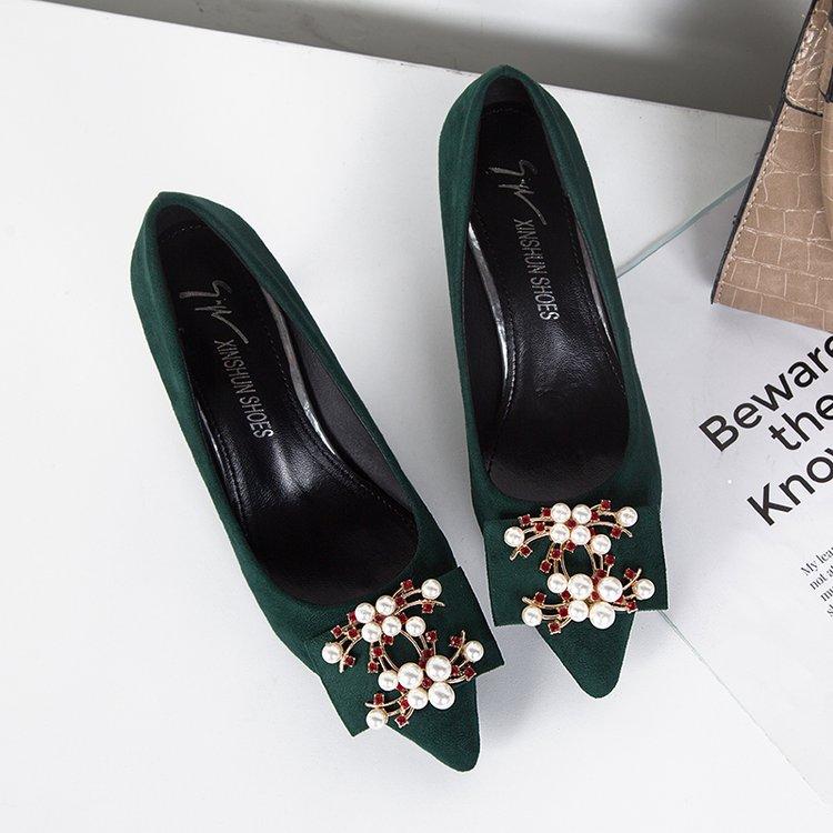 绿色高跟尖头浅口新娘鞋珍珠单鞋