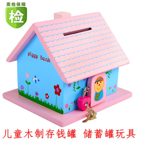 Personalized wooden piggy bank boy children girl large birthday gift creative small house piggy bank with lock