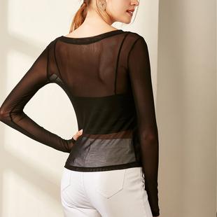 低领网纱打底衫女薄纱长袖t恤内搭紧身薄款纱衣透明黑色蕾丝上衣