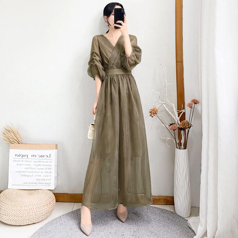 2021新款女装夏收腰显瘦气质过膝长款连衣裙女灯笼袖甜美法式长裙