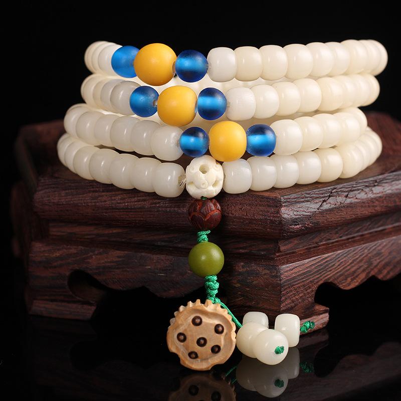 海南白玉菩提108颗佛珠藏式民族风女生手链实力商家