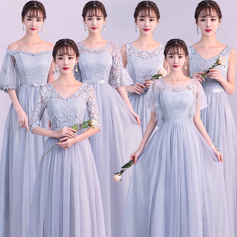 灰色伴娘服長款2018春夏 長袖姐妹裙伴娘團禮服畢業晚禮服