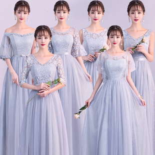 cb91af676bb2 gray bridesmaid dress long section 2019 spring and summer new korean  version of the long-
