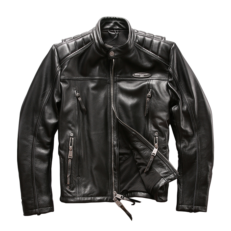 Halley Angel Leather Mens embroidered porcupine leather stand collar motorcycle leather jacket