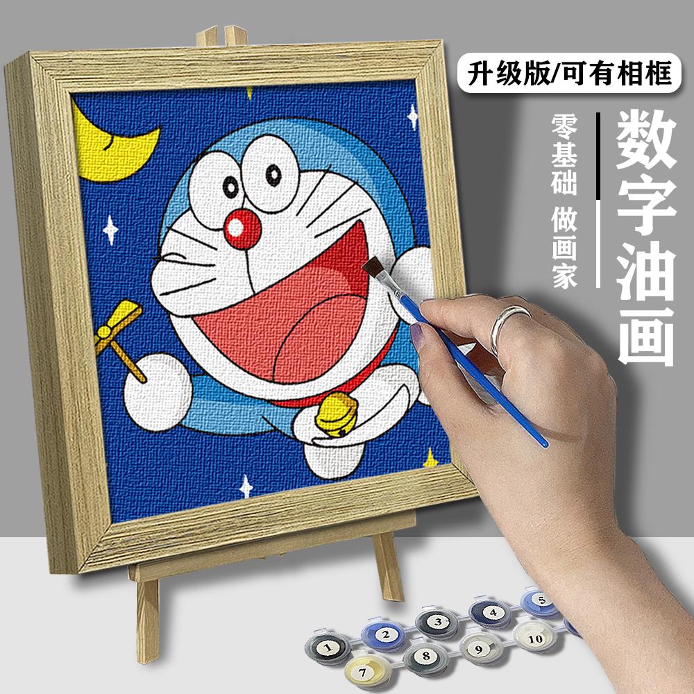 diy数字油画儿童油彩填色手绘卧室客厅装饰卡通动物2020大脸猫图片