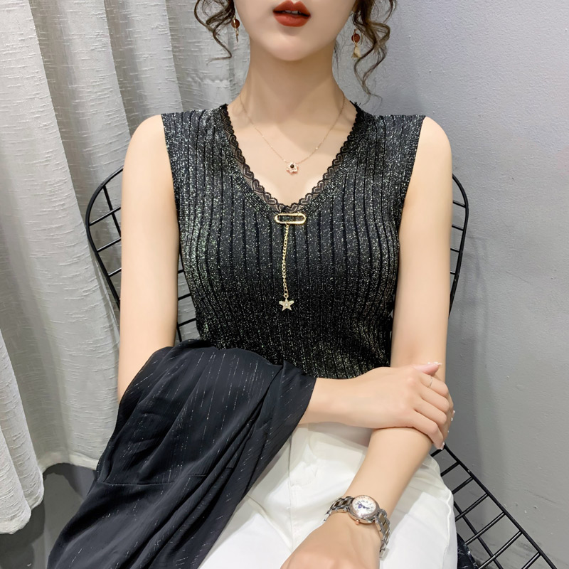 V-neck sleeveless ice silk vest bright silk 2021 summer new womens top lace foreign style ice silk slim knit shirt