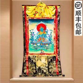 绿度母唐卡刺绣布料装裱西藏唐卡装饰挂画绿度母唐卡佛像1.5米