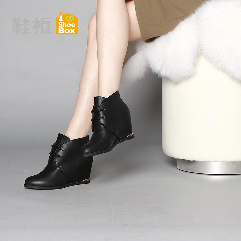 Daphne/达芙妮旗下 冬季休闲女鞋 系带内增高女靴1115505202