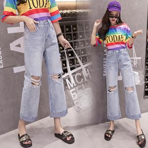 实拍牛仔套装女2021夏季韩版彩虹中袖T恤+浅色宽腿破洞直筒牛仔裤