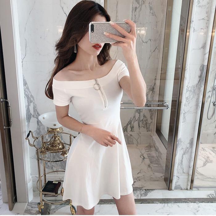 (用70元券)收腰白色女仙高腰a字裙气质连衣裙