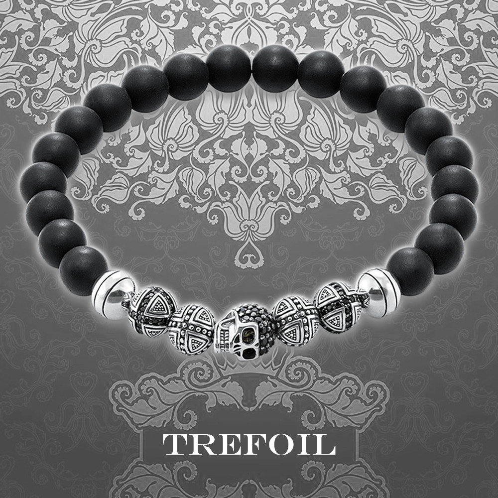Obsidian and skeleton cross Beaded Bracelet European punk personality fashion simple mens and womens Korean Charm Jewelry