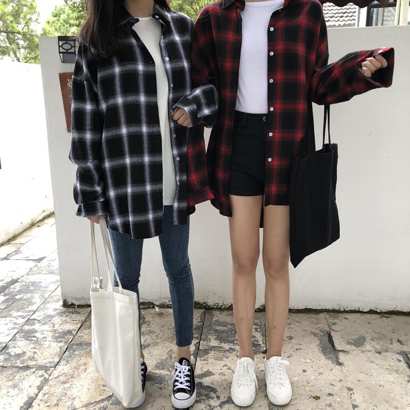 秋季黑白格子衬衫女长袖中长款外套宽松韩版复古bf风2018春装新款