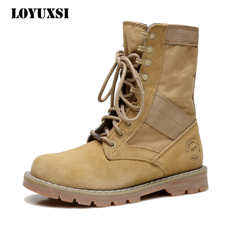 Spring British style Martin boots women's boots leather short boots locomotive boots single boots couple middle boots women desert army boots