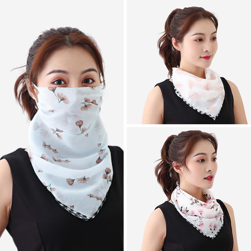 春夏季大花三角丝巾围脖口罩女护颈透气遮脸面罩防层遮阳雪纺薄款
