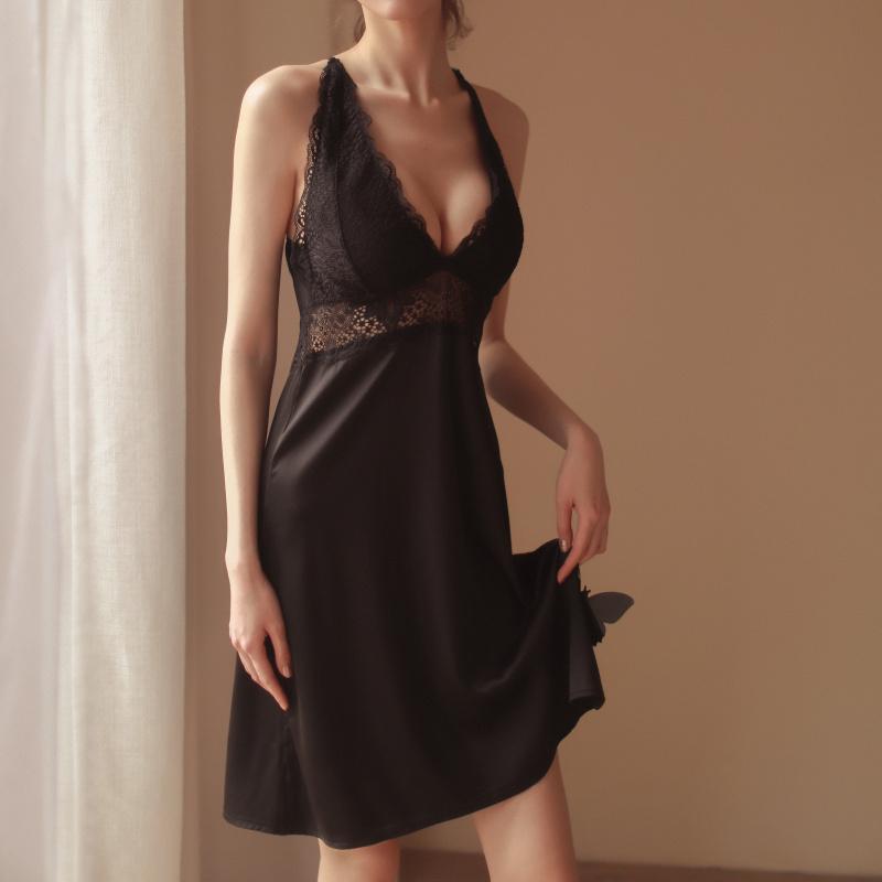 情趣睡衣性感女夏季透明薄款春秋吊带冰丝睡裙两件套内衣午夜魅力