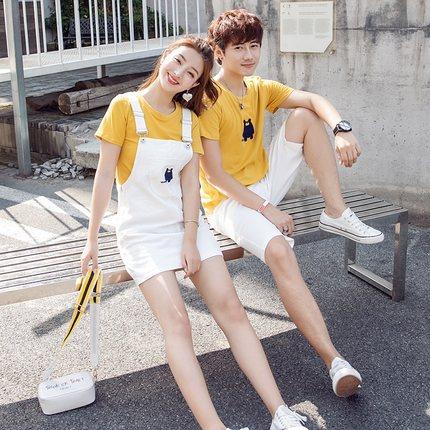 情侣装夏装套装2019新款情侣款同色系韩版气质短袖t恤连衣裙学生