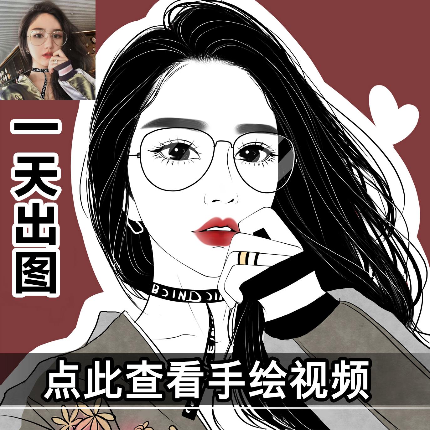 Рисованный аватар прохладно черный белый Реалистичный персонаж мультфильма Q версия Image Design logo Live Photo Manga