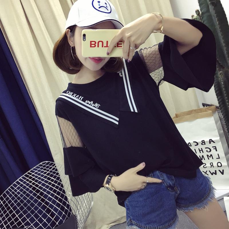 夏季韩版超大码200斤胖mm短袖t恤女装宽松显瘦蕾丝荷叶袖上衣大版