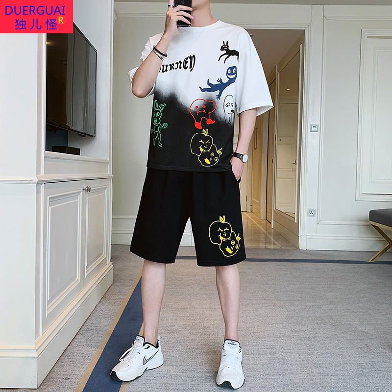 Summer Tide brand printing 12 13 14 adolescent boys sports suits 15-year-old junior high school student big boy short-sleeve shorts