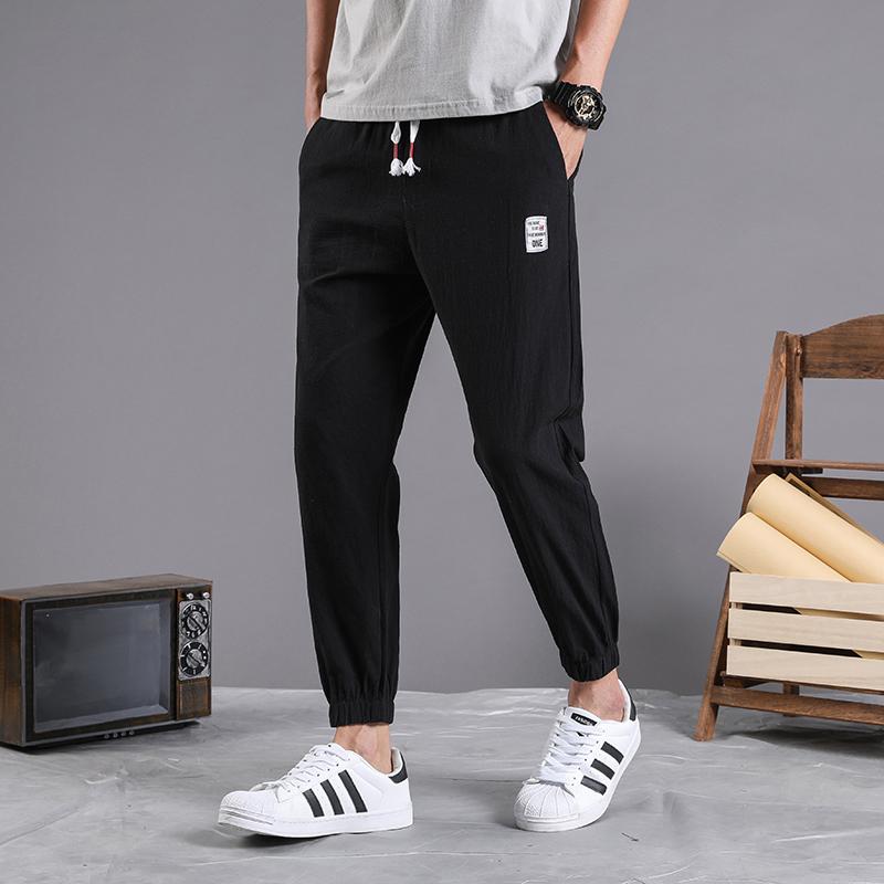 Casual pants mens summer and autumn thin Korean fashion Capri pants mens slim slim youth sports pants