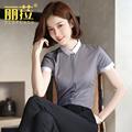 灰色职业女短袖2021年夏季新款衬衫