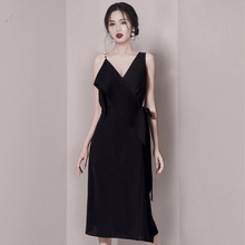 Black tuxedo 2019 new femininity banquet celebrity birthday party dress can be worn at ordinary times
