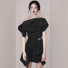 Black tuxedo 2019 new women's dinner party annual meeting temperament celebrity birthday party dress can be worn at ordinary times