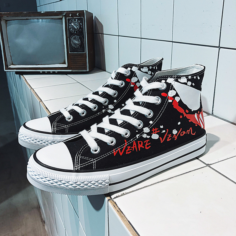 Spring and summer new fashion printing Marvel venom high Gang mens canvas shoes street fashion skateboard shoes student youth Han