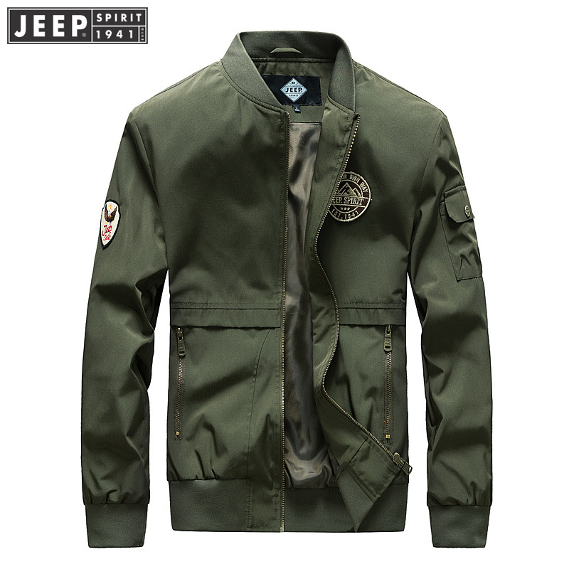 Jeep mens long sleeve jacket spring and autumn youth mens jacket stand collar Baseball Jacket cardigan big size trend