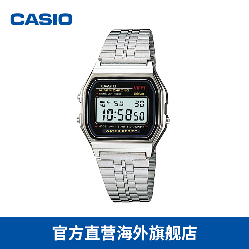 Casio/Casio small silver watch simple waterproof retro small square electronic watch A159WA-N1DF