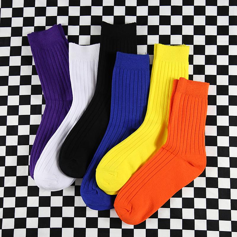 【3双】男女纯色宝蓝色橘色潮中筒袜19.98元包邮