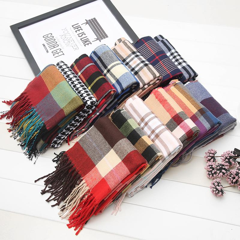 Ребенок шарф кашемир зима корейский мальчиков нагрудник осень и зима корея небольшой решетки ребенок ребенок теплый девочки шарф
