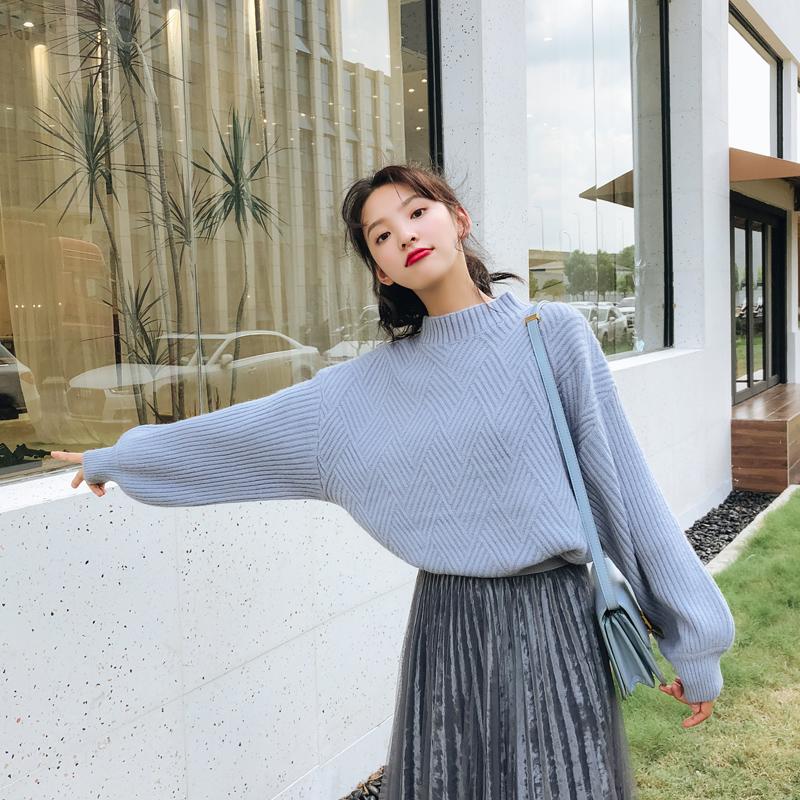 实拍 秋冬新款韩版宽松灯笼袖加厚圆领套头毛衣针织衫女 1260-1