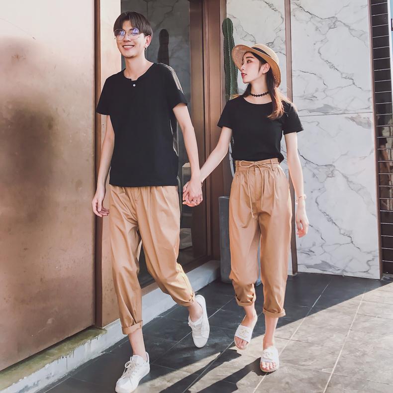 情侣装夏装套装2018新款韩版七分裤短袖T恤上衣潮流情侣款气质潮
